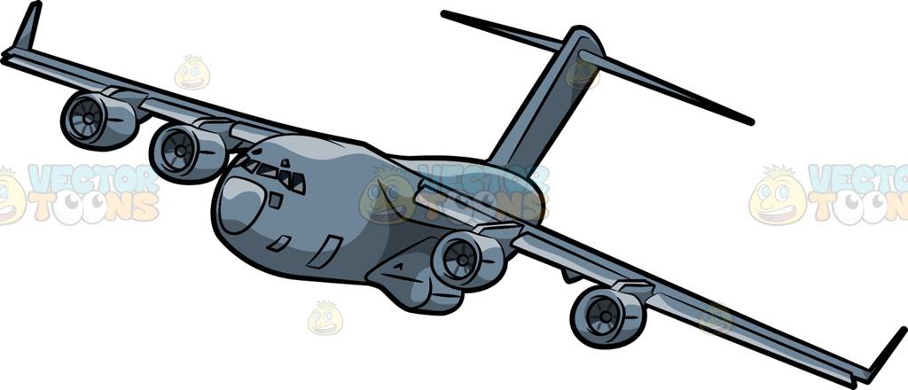 1024x440 A C17 Globemaster Cargo Plane Cartoon Clipart Vector Toons