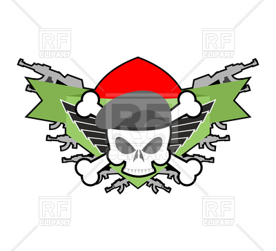 400x363 Military Emblem With Skull In Beret And Weapons Royalty Free