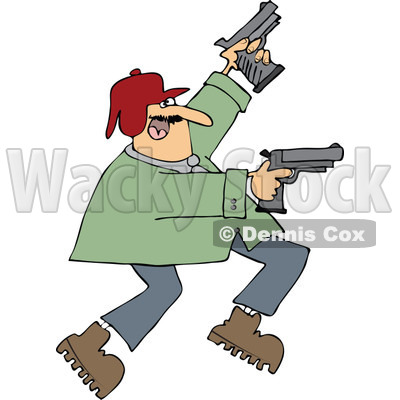 400x400 Cartoon Of A Man Running And Shooting Two Pistols