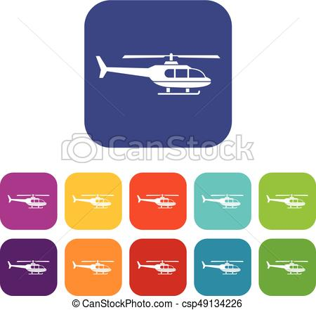 450x441 Military Helicopter Icons Set Vector Illustration In Flat