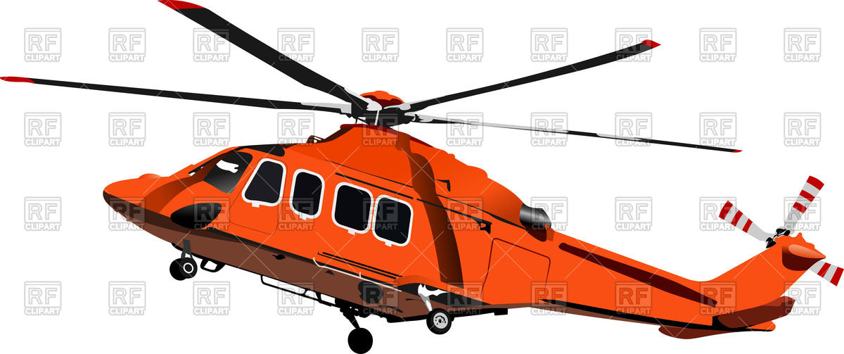 1200x503 Orange Combat Helicopter Royalty Free Vector Clip Art Image