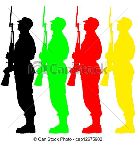 450x470 Silhouette Soldiers During A Military Parade. Vector Illustration.