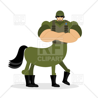 400x400 Centaur Soldier In Helmet, Military Mythical Creature Royalty Free