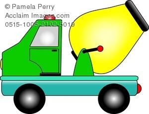 300x231 Clip Art Image of a Cartoon Cement Mixer Truck