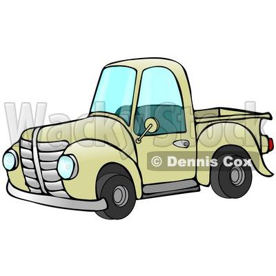 400x400 Old Fashioned Yellow Pickup Truck Clipart Illustration © djart
