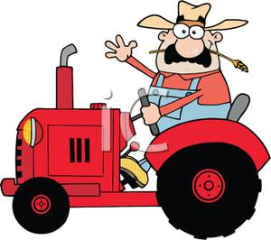 300x266 Royalty Free Clipart Image A Farmer On A Tracter
