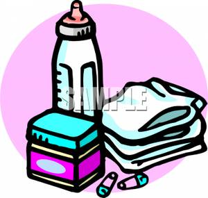 300x285 Clip Art Image A Stack Of Diapers With A Bottle Of Milk