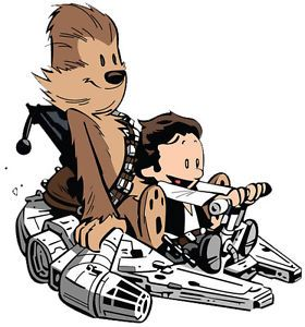 280x300 Calvin And Hobbes Han Solo And Chewbacca Play Star Wars Graphic