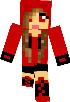 289x418 Minecraft Skins Girl Hoodie Cute In Red Clipart