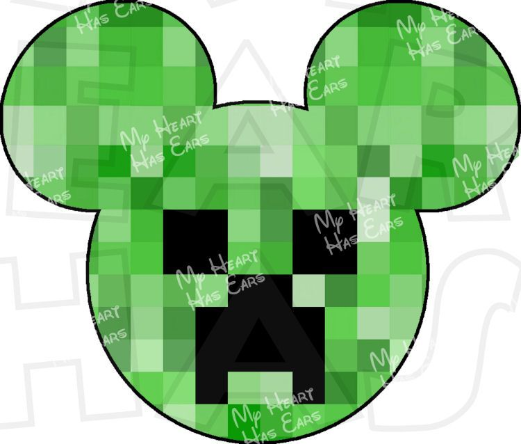 750x638 Minecraft Creeper Mickey Mouse Ears Head Instant Download Digital