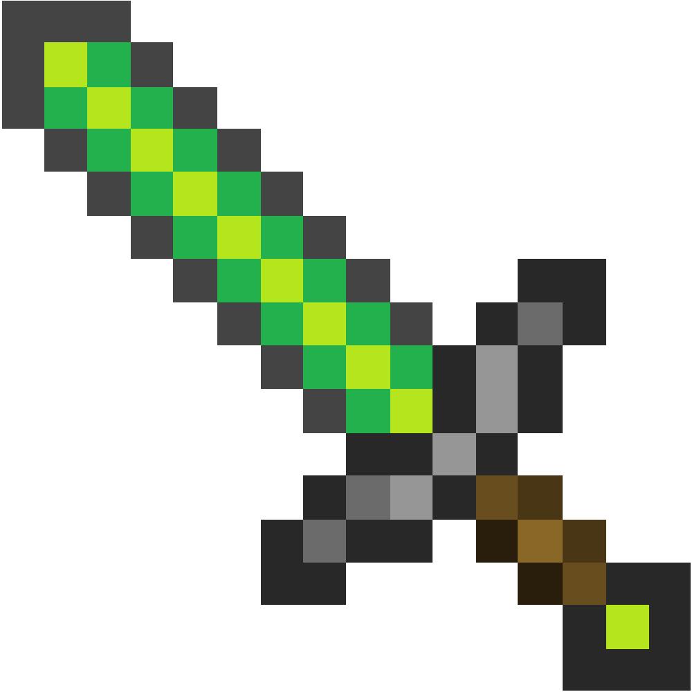 1000x1000 Papercraft Emerald Sword (Life Size) Minecraff
