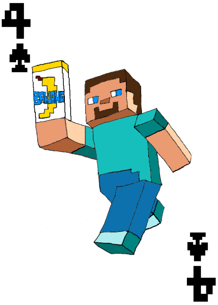 750x1050 Steve From Minecraft 4 Of Spades Card By Jennibee