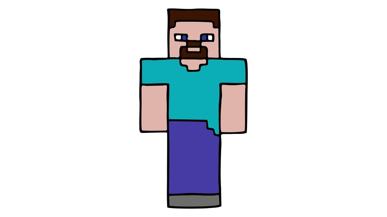 1280x720 How To Draw Steve From Minecraft (Skin)