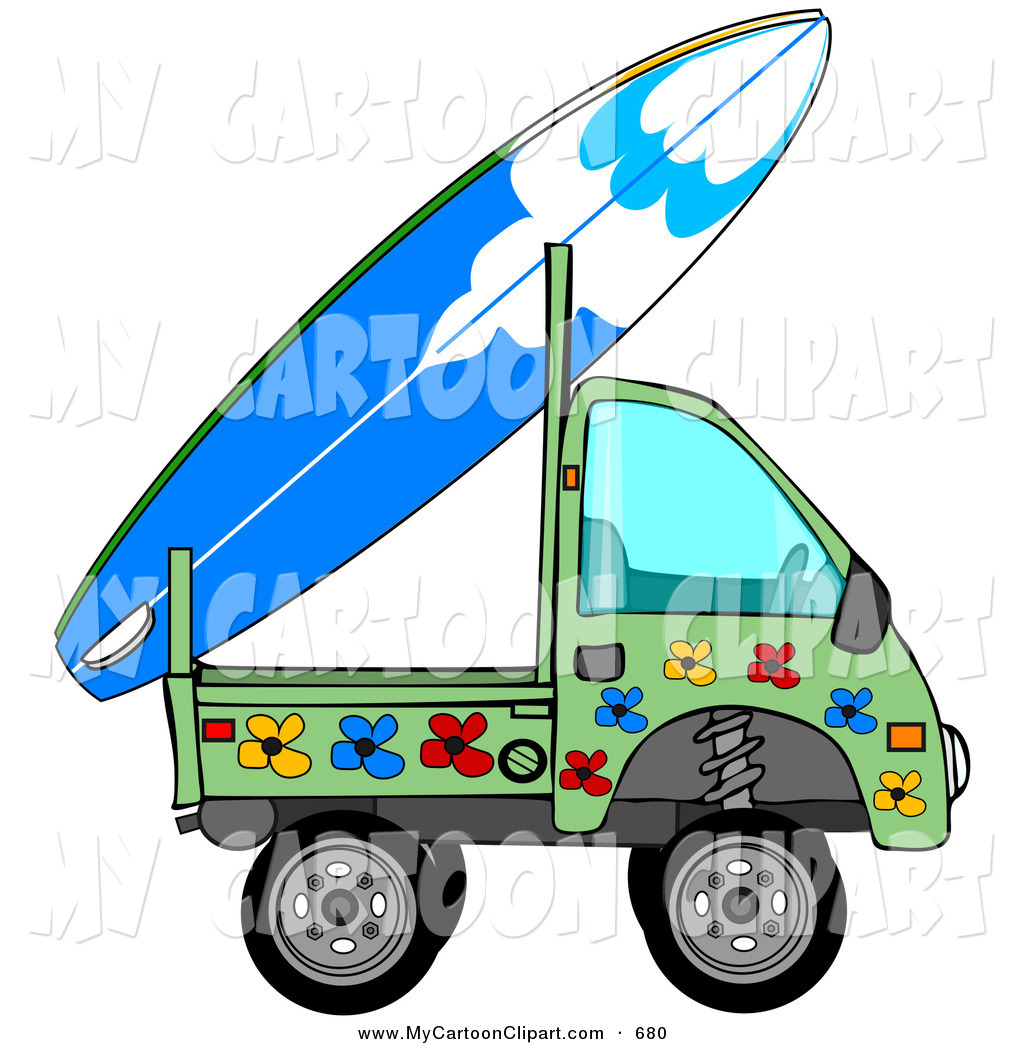 1024x1044 Clip Art Of A Mini Green Floral Truck With A Surf Board On