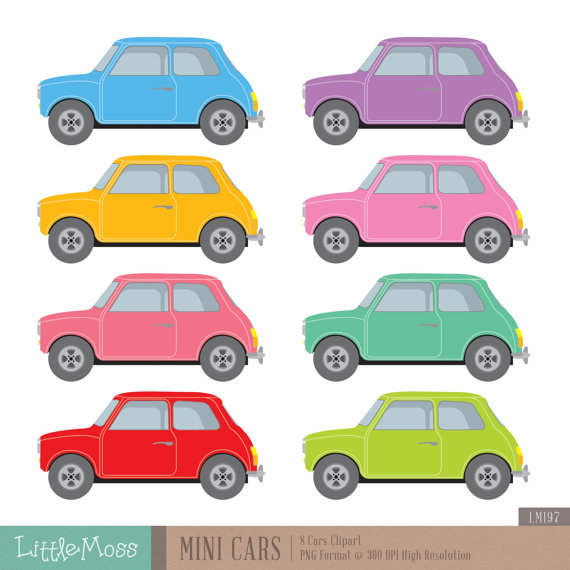 570x570 Mini Cars Digital Clipart