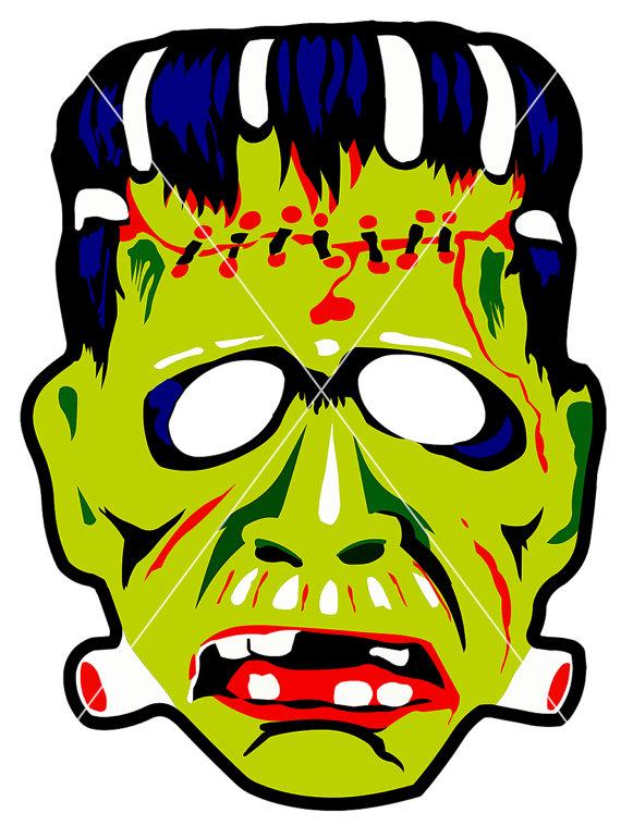 570x770 Vintage Ben Cooper Frankenstein Mask Vectors Clip Art