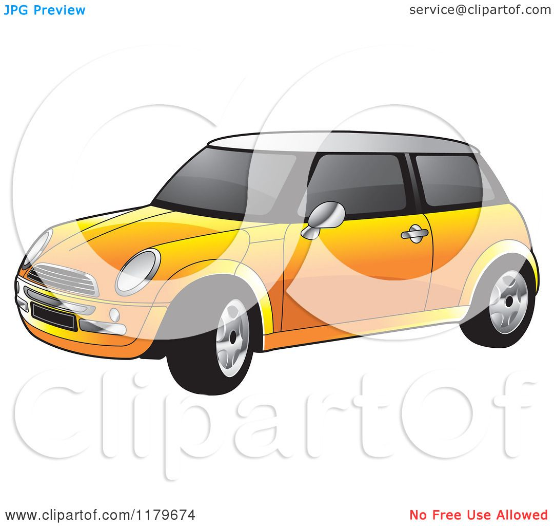 1080x1024 Clipart Of An Orange Mini Cooper Car