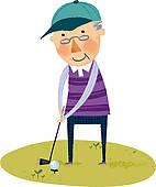 142x170 Senior Golfer Clipart