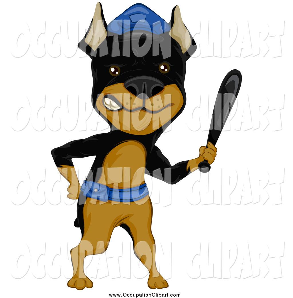 1024x1044 Clip Art Of A Mini Doberman Pinsher Guard Dog Holding A Club By