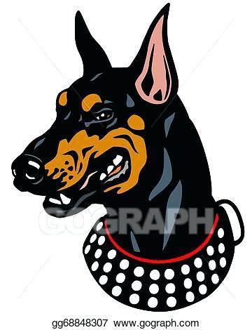 360x470 Doberman Clip Art Vector Stock Dog Head Doberman Isolated On White