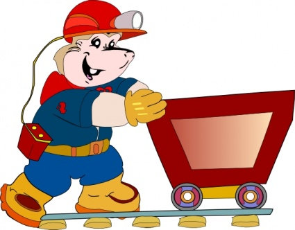 425x332 Free Download Of Coal Miner Pushing Cart Clip Art Vector Graphic