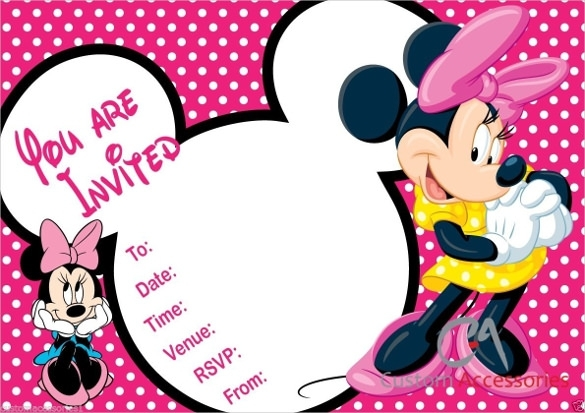 585x413 Minnie Mouse Birthday Invitation Template