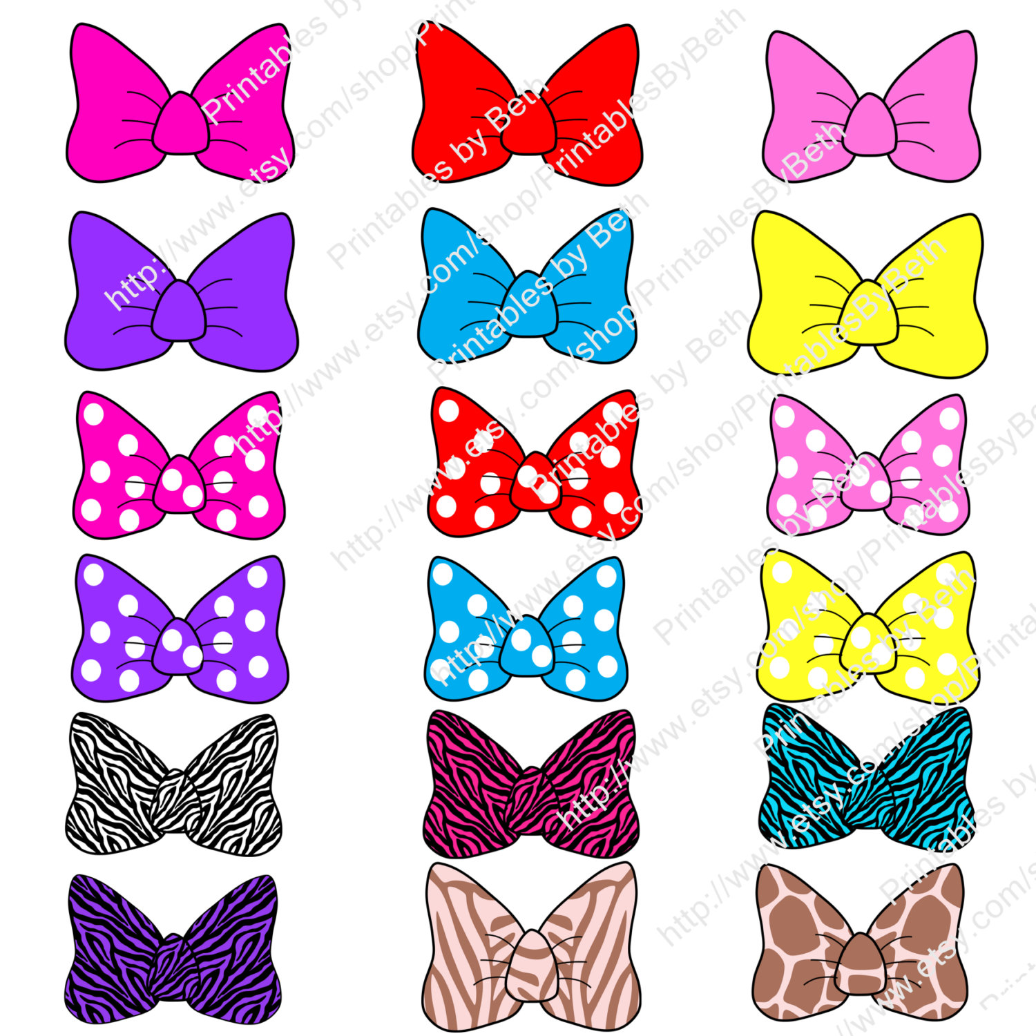 1500x1500 INSTANT DOWNLOAD Minnie Mouse inspired bows clip art digital