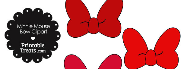 610x229 Minnie Mouse Bow Clipart in Shades of Red Printable