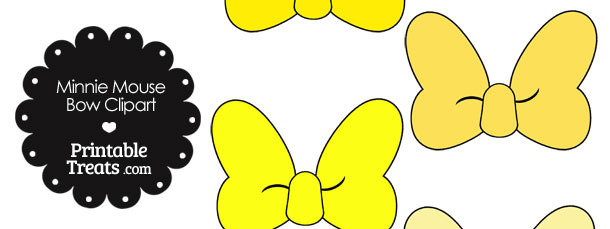 610x229 Minnie Mouse Bow Clipart in Shades of Yellow Printable