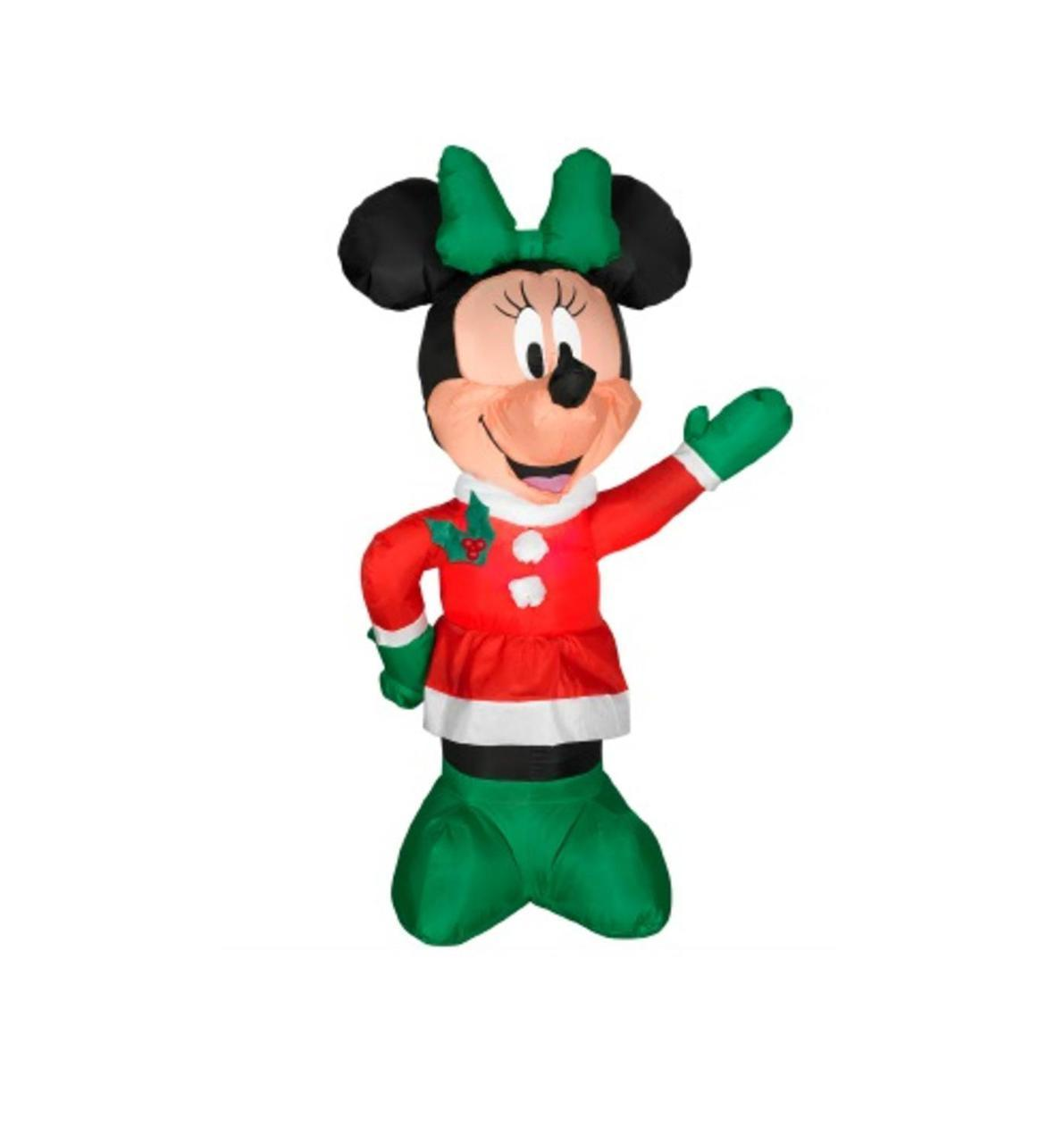 1191x1280 3.5#39 Inflatable Disney LED Lighted Winter Minnie Mouse Christmas