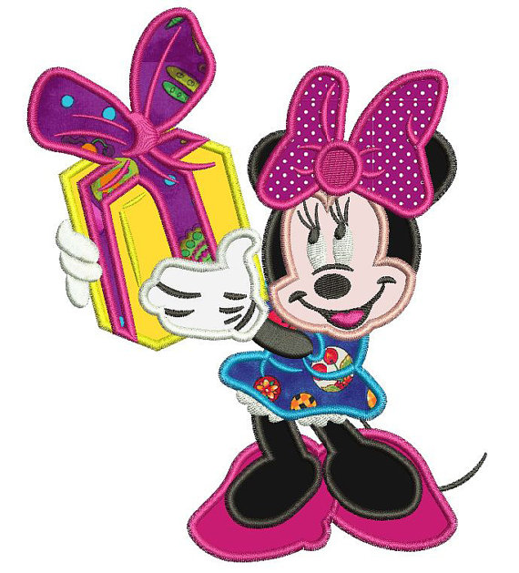 570x629 Minnie Mouse with a Christmas Gift Applique Design 3 sizes instant