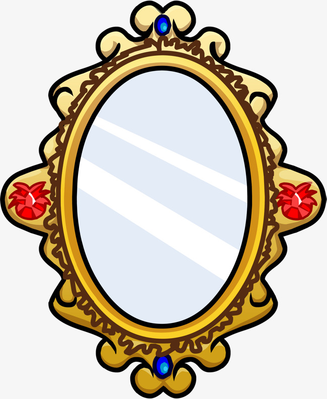 650x793 Cartoon Yellow Mirror, Leave The Material, Cartoon, Oval Png Image