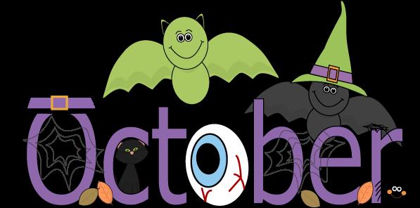 597x296 Fun Month Of October Halloween Scene Clip Art Calendar Topper
