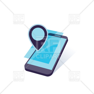 400x400 Mobile Device With Geo Location Mark Royalty Free Vector Clip Art