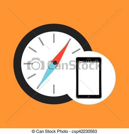 450x470 Compass Mobile Phone Navigation Vector Illustration Eps 10 Clip