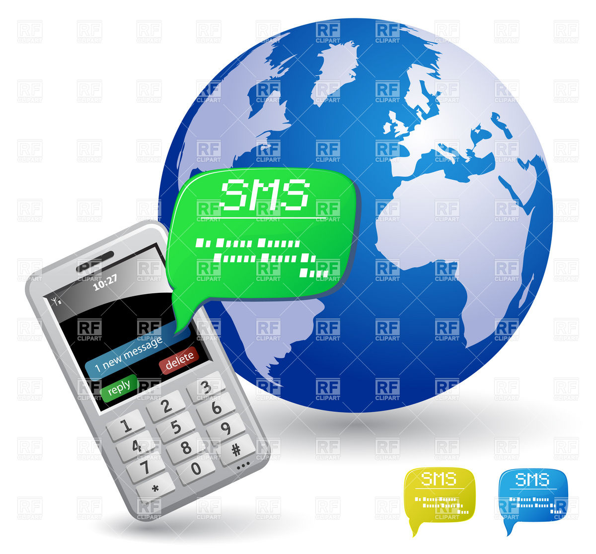 1200x1116 Mobile Phone, Globe And Sms Bubble Royalty Free Vector Clip Art