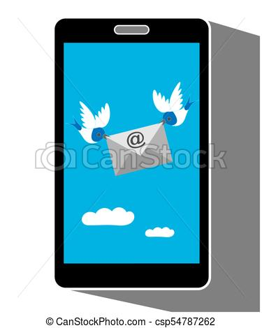 375x470 Mobile Phone Display Showing Bird Carrying An Email Message