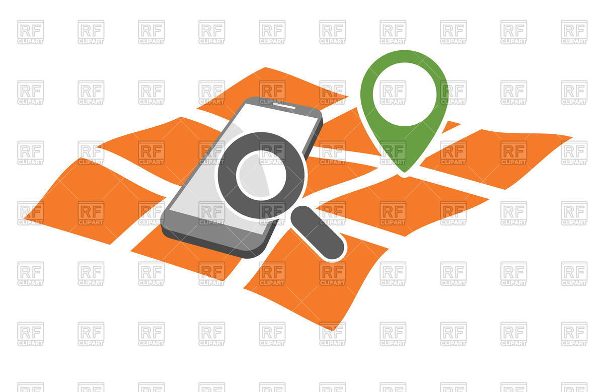 1200x779 Mobile Phone With Magnifying Glass On Geo Gps Map Royalty Free