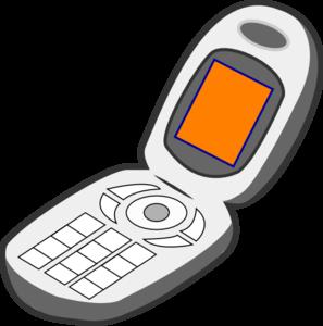 297x300 Cell Phone Grey Orange Clip Art