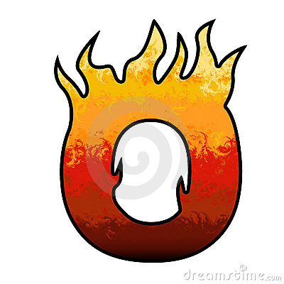 400x400 Flaming Letter O Clipart