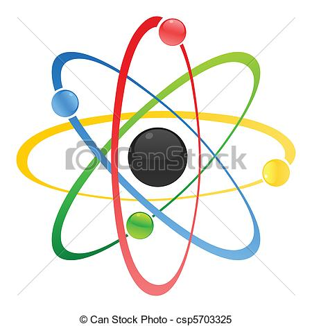 450x470 Model Of Atom With A Kernel. A Vector Illustration Clipart Vector