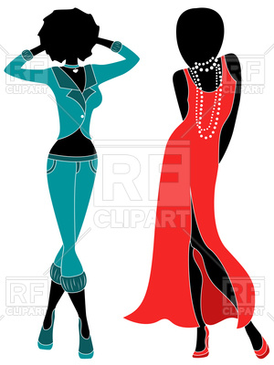 300x400 Silhouette Of Model Women In Dull Turquoise And Red Dress Royalty