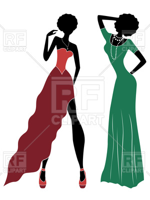 300x400 Silhouette Of Slender Model Women In Dull Red And Green Long Gown