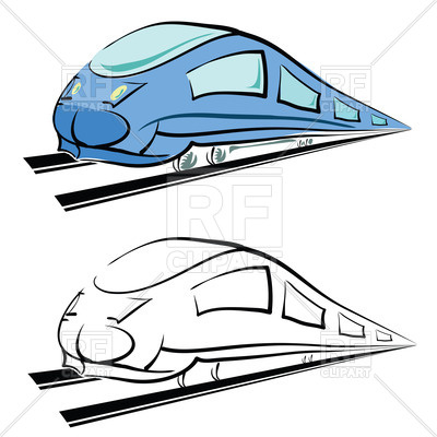 400x400 Outline Of Modern Train Royalty Free Vector Clip Art Image