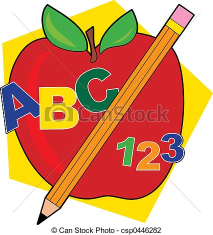 426x470 Bold And Modern Abc Clipart Apple With A Pencil Abcs Clip Art