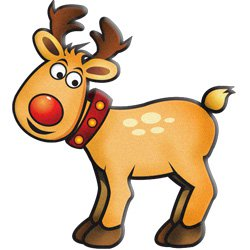 250x250 Reindeer And Rudolf Modern Clipart