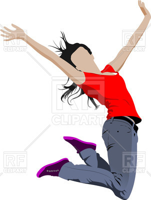 302x400 Jumping Happy Girl Royalty Free Vector Clip Art Image