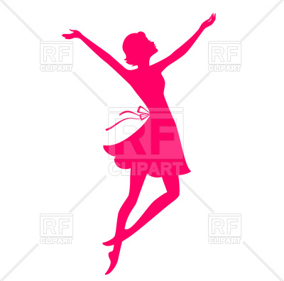 400x396 Pink Silhouette Of Dancing Young Woman Royalty Free Vector Clip