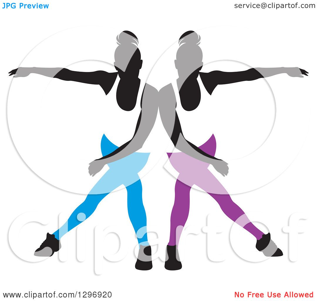 1080x1024 Clipart Of A Black Silhouetted Female Dancers In Blue And Purple