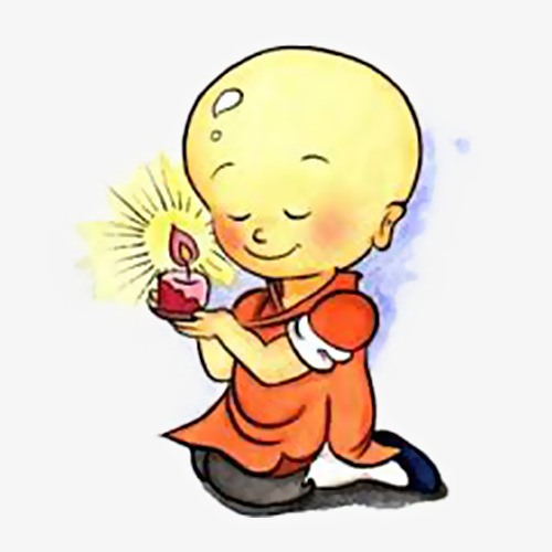 500x500 A Little Buddhist Monk With A Candle On His Hand, Hand Painted